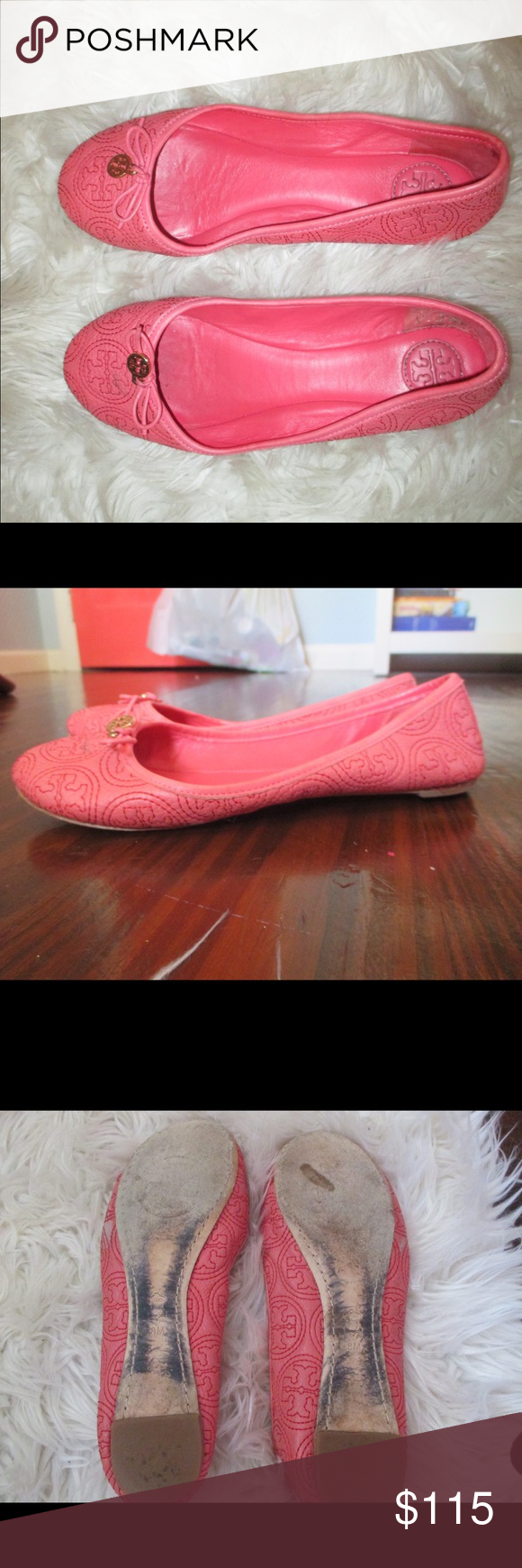 """*AUTHENTIC*Tory Burch Chelsea Flat in """"rose petal"""" Pretty rose pink, embroidered Tory Burch logo, gold emblem in the front, slightly stretched out Tory Burch Shoes Flats & Loafers"""