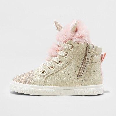 3d8e810f4a411e Toddler Girls  Angelynn High top Unicorn Sneakers - Cat   Jack Gold ...