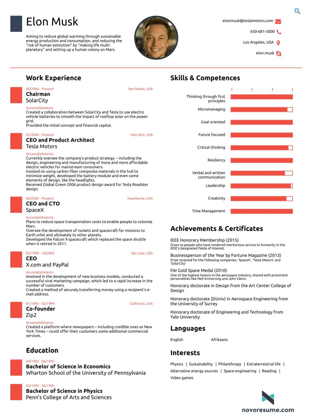 Elon Musk Resume Infographic Cv Elon Musk