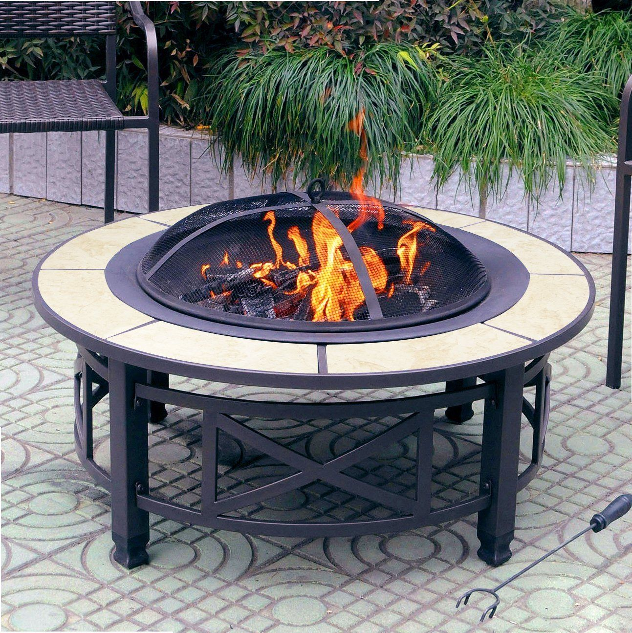 Centurion Supports Nusku Luxurious And Premium Multi Functional Black With Ceramic Tiles 360 Outdoor Best Fire Pitdiy