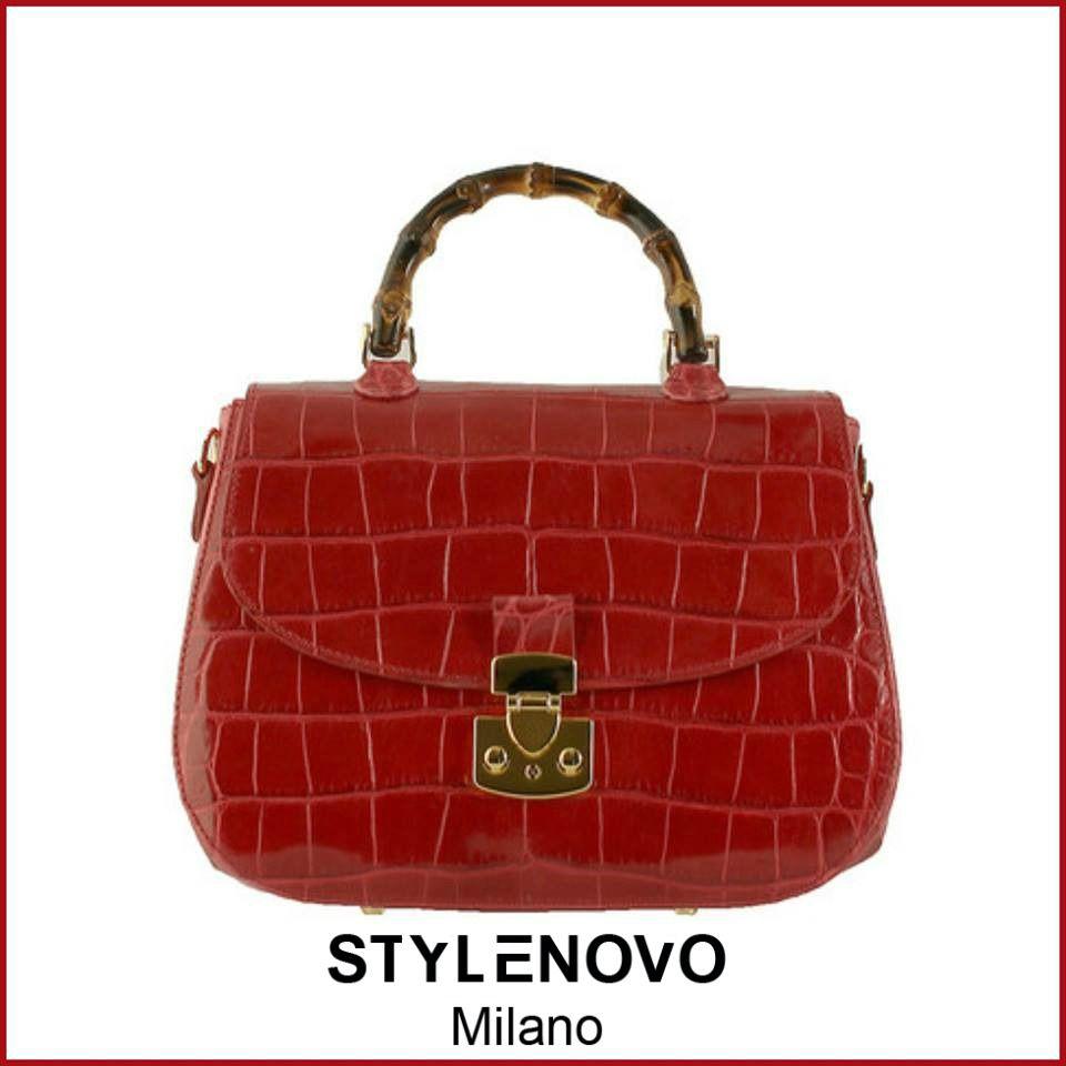 Buti Red Handbag With Bamboo Handle And Crocodile Skin Print Begin Spring Style Giulia Team Stylenovo Madeinitaly