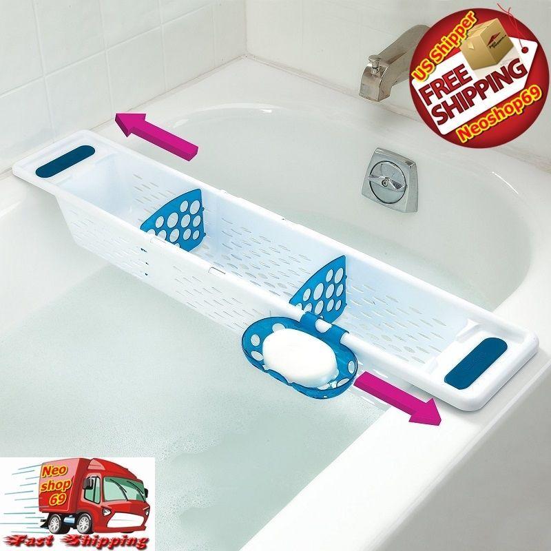 Bathtub Caddy Bath Toy Organizer Storage Basket Shelf Holder ...