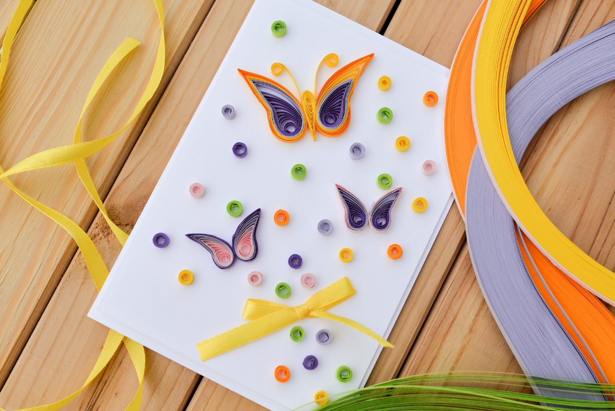 How To Make Easy Greeting Card Quilling Butterfly Step By Step
