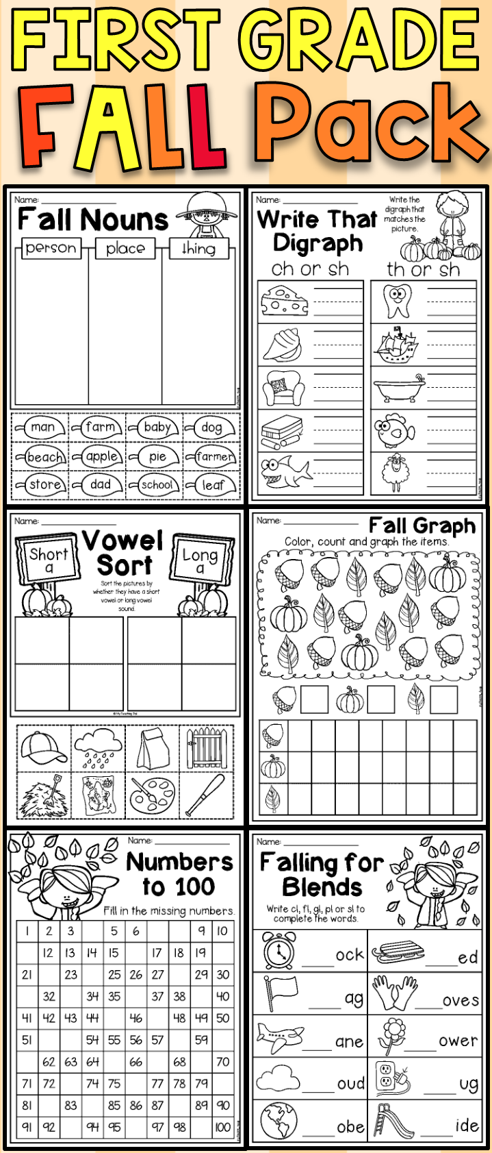 Fall Math And Literacy Worksheet Pack First Grade Literacy Worksheets Phonics Interventions First Grade [ 1683 x 719 Pixel ]