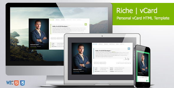 Riche VCard Personal VCard HTML Template Business Cards - Virtual business card template