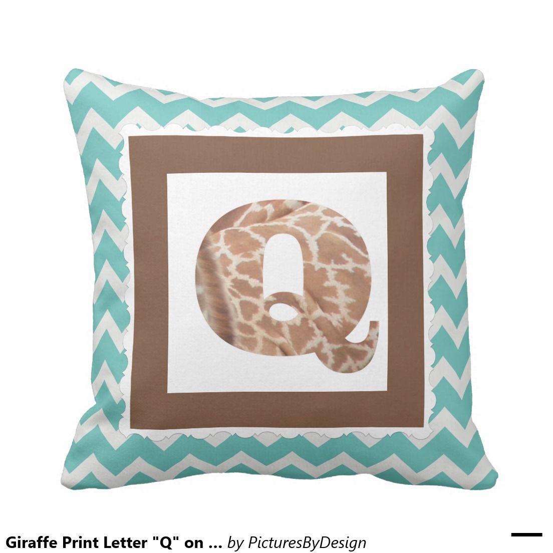 "Giraffe Print Letter ""Q"" on Mint/White Chevron Pillow"