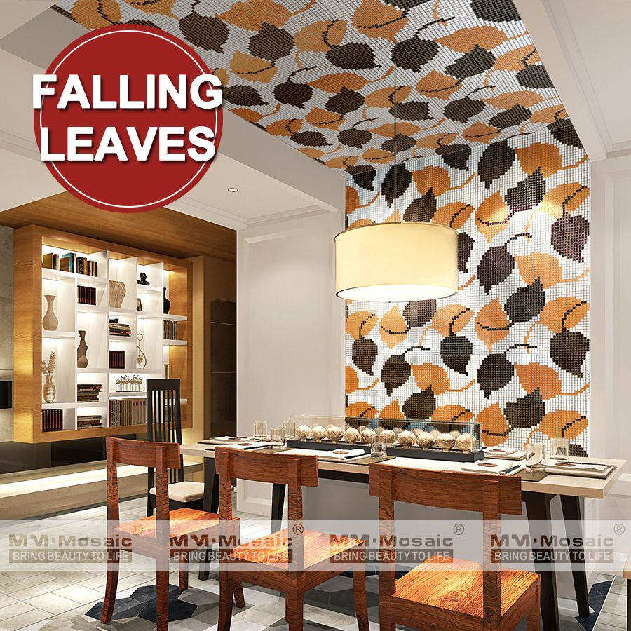 Decoration Tile Amusing Falling Leaves Mosaic Ceramic Art Tile Mural Restaurant Wall Art Inspiration