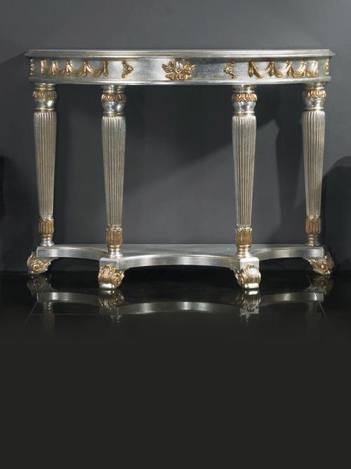 Empire Silver Demi Console Table. Carved From Solid Beech Wood With A Silver  Leaf Lacquered