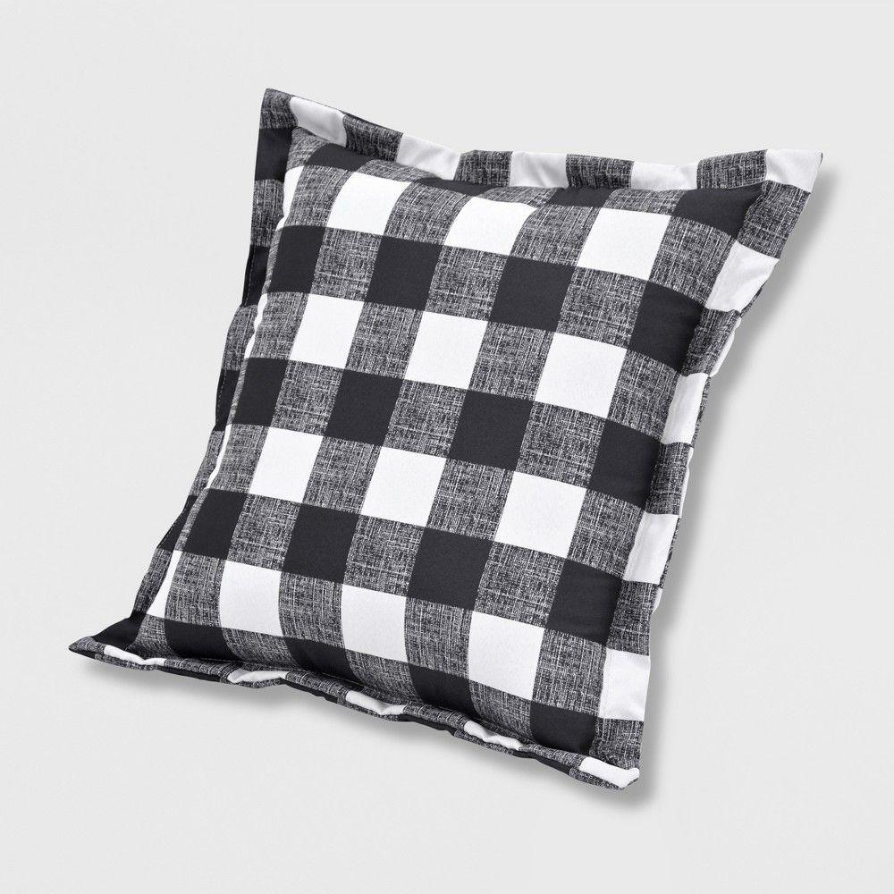 Buffalo Plaid Outdoor Deep Seat Pillow Back Cushion Black Threshold Deep Seating Pillows Outdoor Deep Seat Cushions