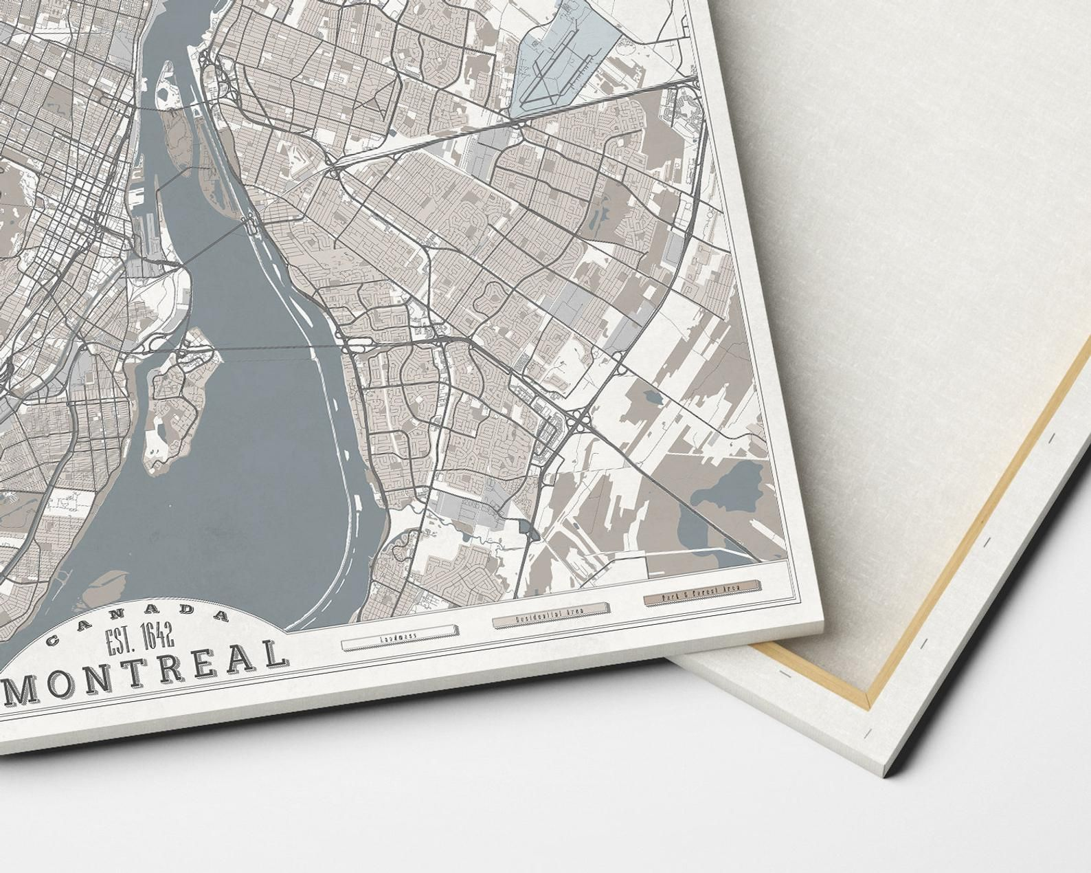 MONTREAL Canvas Print Canada City Map Soft Pastel Colors