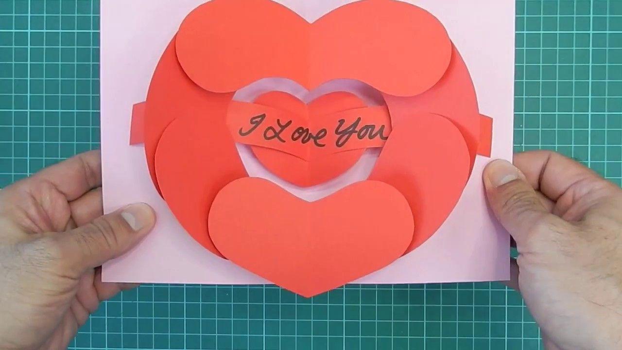 Open Your Heart Pop Up Card Tutorial Heart Pop Up Card Birthday Card Pop Up Pop Up Card Templates
