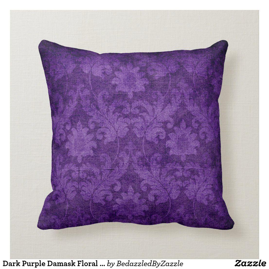 Dark Purple Damask Floral Decorative Pattern Throw Pillow Zazzle
