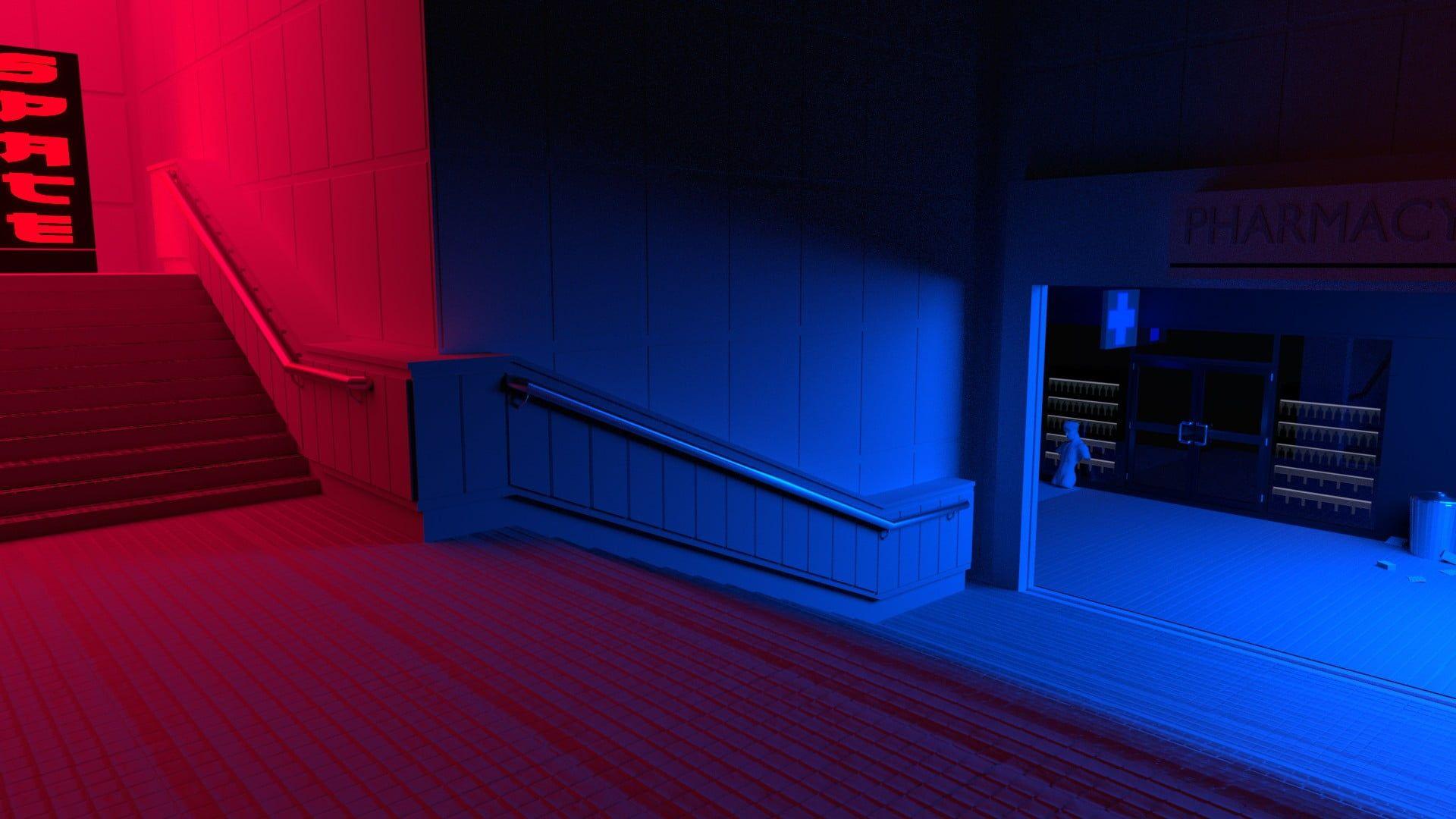 Black And White Wooden Bed Frame Red Blue Stairs Vaporwave 1080p Wallpaper Hdwallpaper Desktop Vaporwave Wallpaper Blue Aesthetic Blue Wallpapers