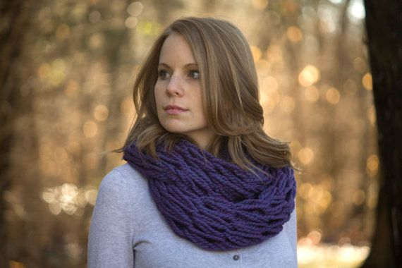 Purple Infinity Scarf, Knit Scarf, Chunky Cowl, Womens Fall Accessories