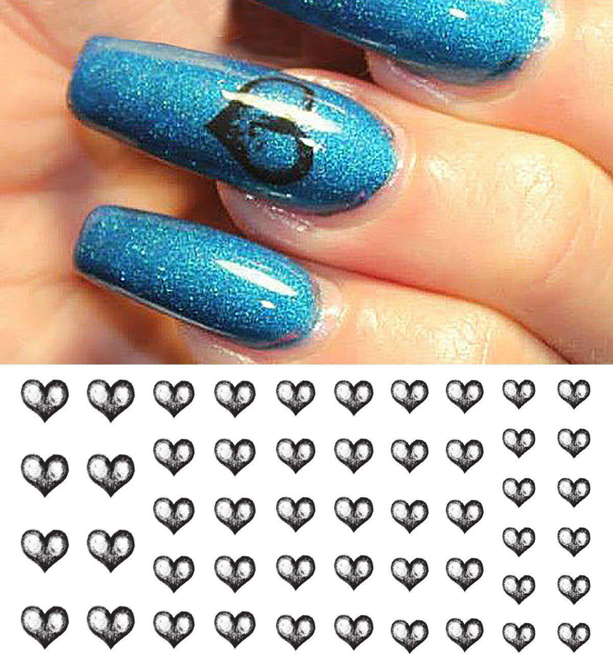 Black Heart Nail Art Decals | Nail decals