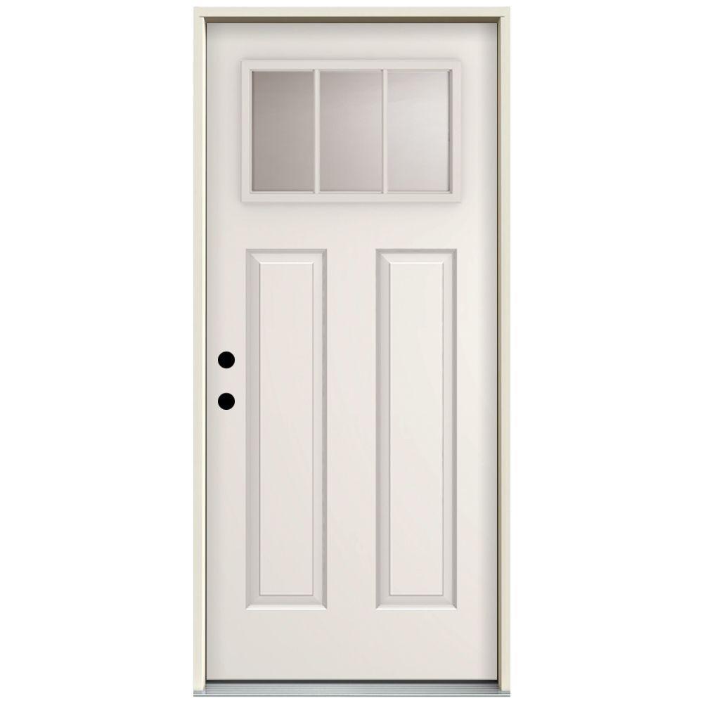 Steves Sons 32 In X 80 In 3 Lite Left Hand Inswing Primed White Steel Prehung Front Door With 4 In Wall St30 3l 28 4ilh The Home Depot Front Door Doors Interior Doors