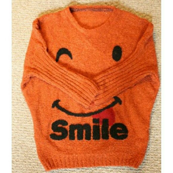 Smile Sweater ?? Super cute winky face sweater! Excellent Condition ?? Size Small.  Make me An Offer ?? No Trades ?? China Sweaters Crew & Scoop Necks