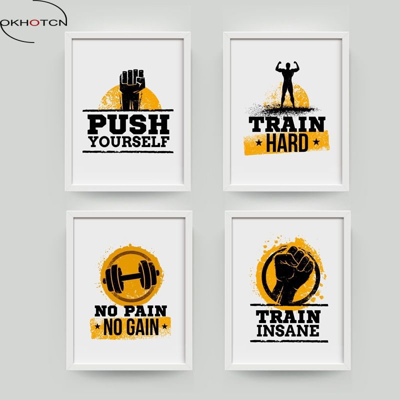 Motivational Gym Posters Workout Quotes Prints Inspirational Fitness Wall Art