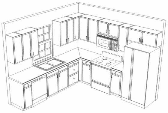 10x10 kitchen on pinterest l shaped kitchen kitchen for Kitchen cabinets layout