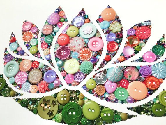 Button Art Print Lotus Waterlily Fourth by BellePapiers on Etsy