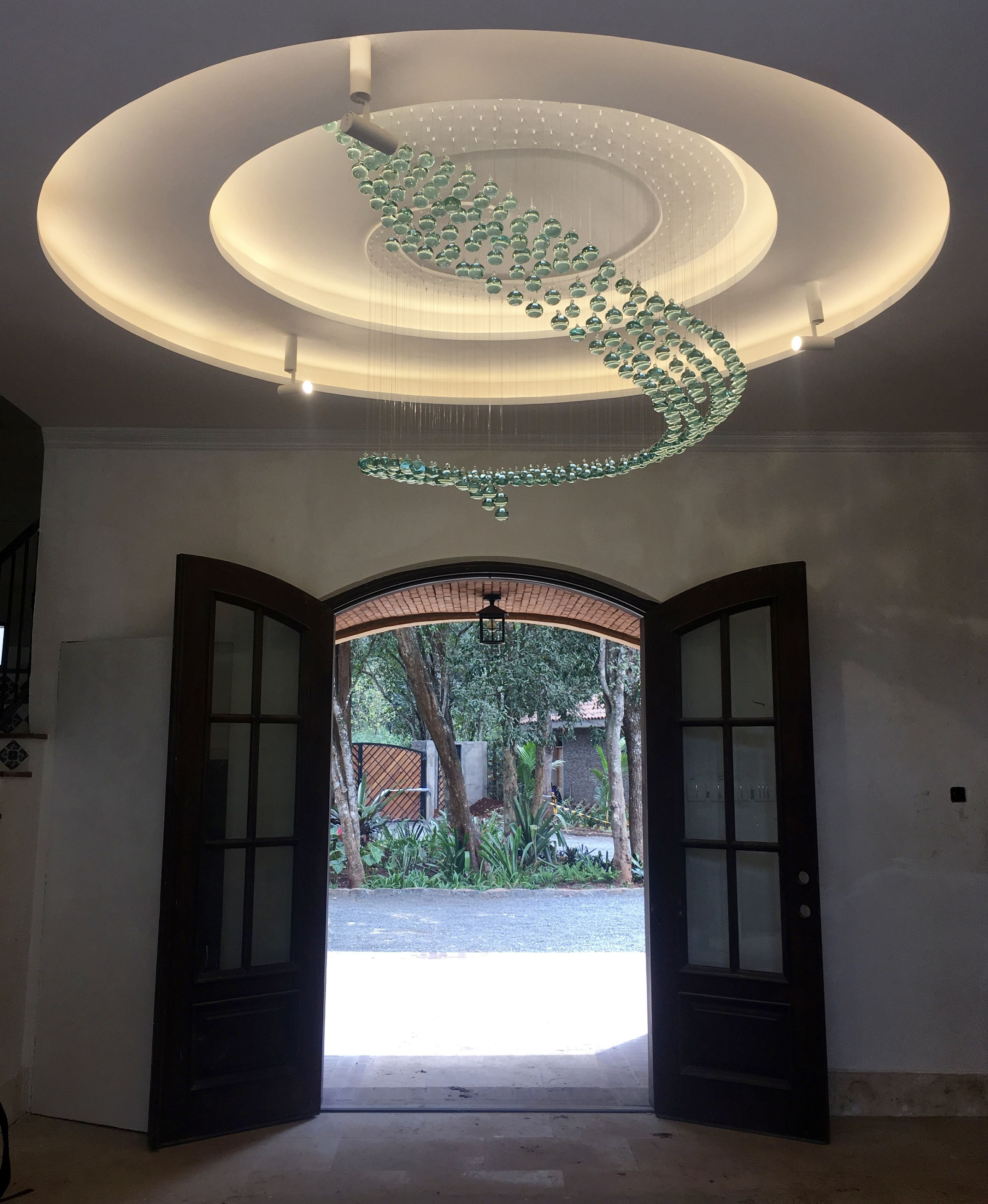 Kitengela hot glass hand made ambient light chandelier installation in nairobi