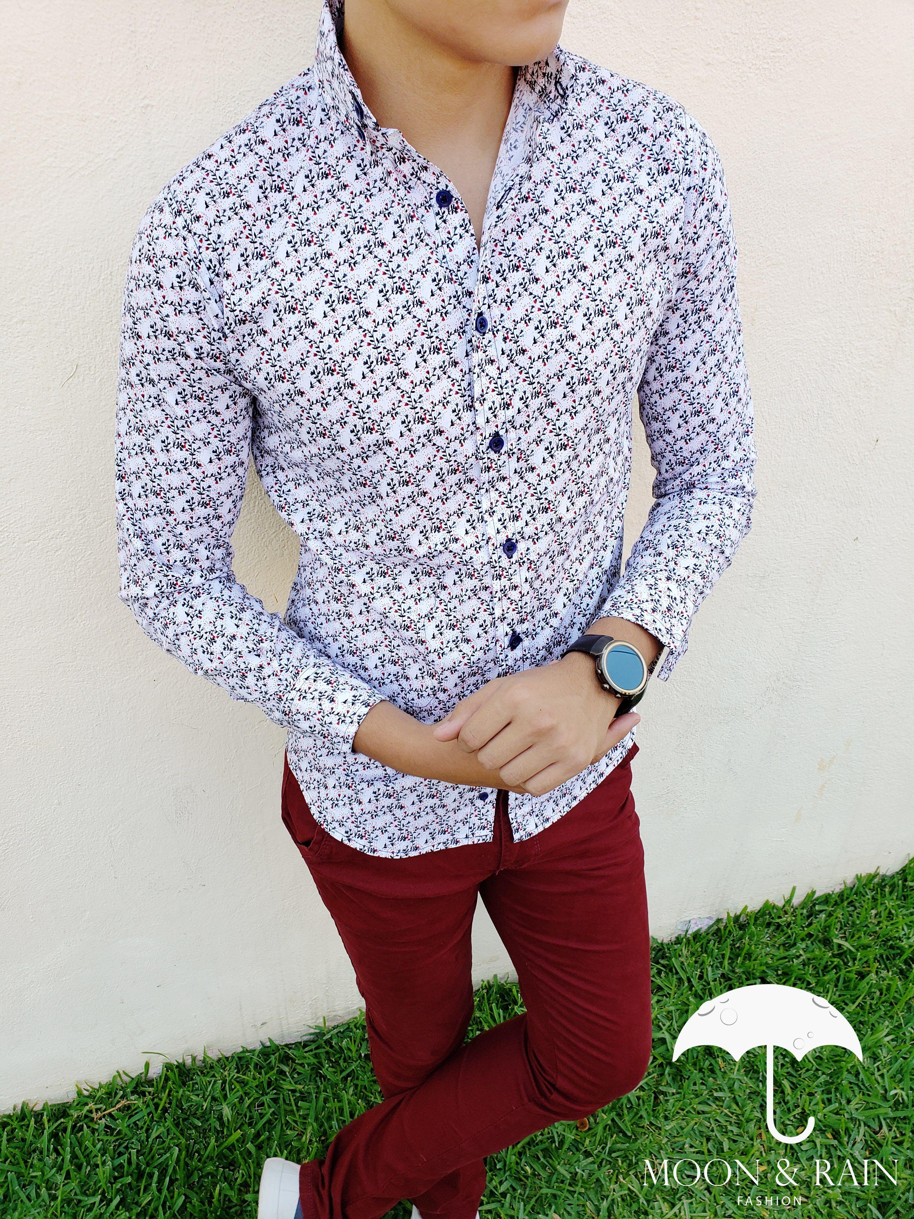 De La Moonamp; Para RainCamisa Flores Blncaa Outfit Hombre Marca rCoexdB