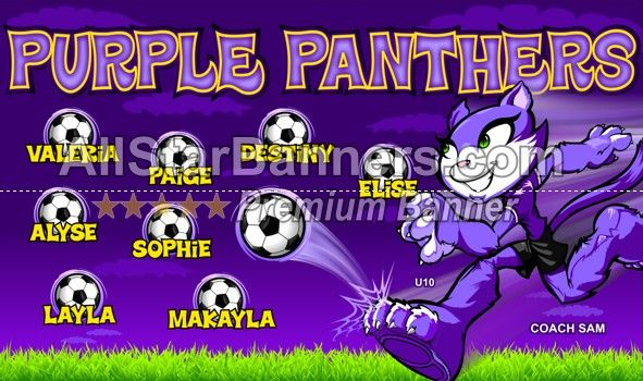 Purple Panthers Soccer Banner Idea From Allstarbanners Com We Do Soccer Banners Baseball Banners Softball Soccer Banner Soccer Banner Design Baseball Banner