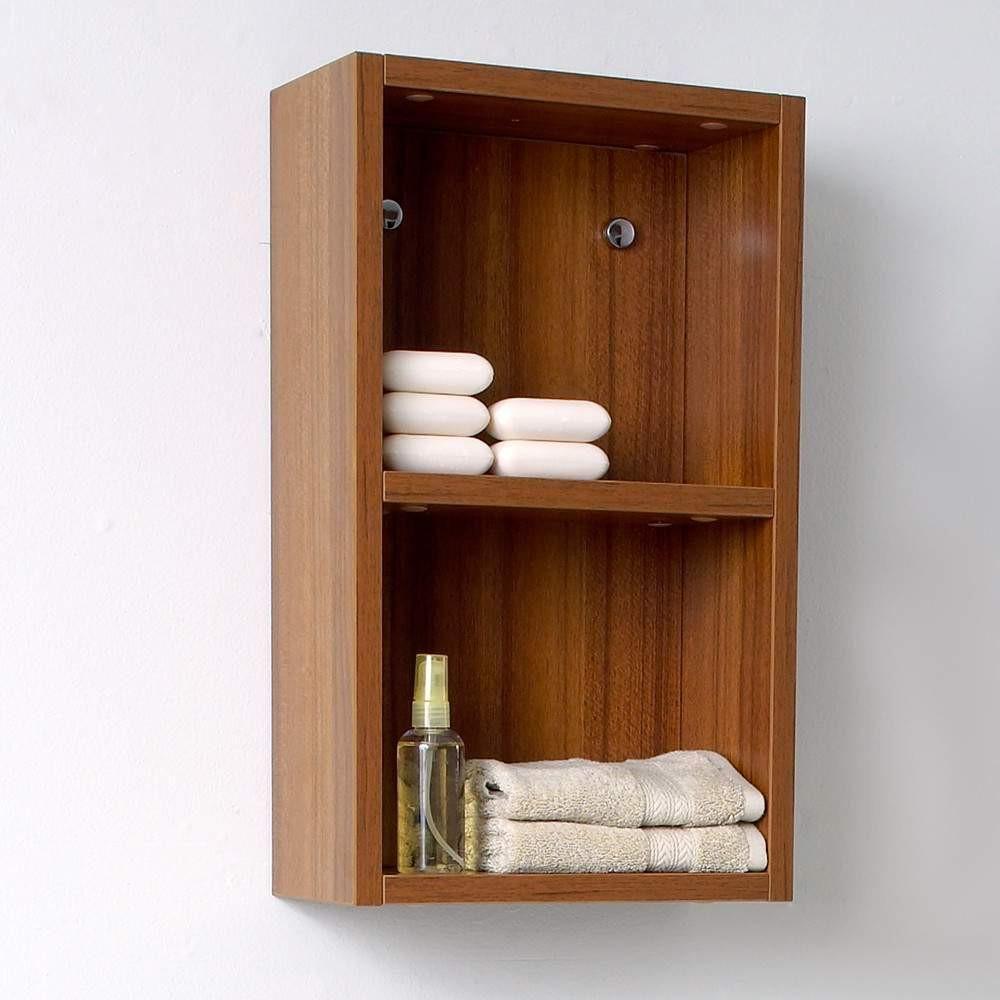 Fresca Teak Bathroom Linen Side Cabinet W Open Storage Areas - Teak bathroom cabinet storage