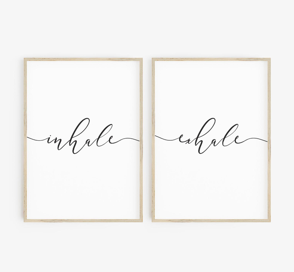 Inhale Exhale Print, Inhale Exhale, Yoga Teacher Gifts, Set of 2 Prints, Relaxation Print, Inhale Exhale Signs, Yoga Poster, Above Bed
