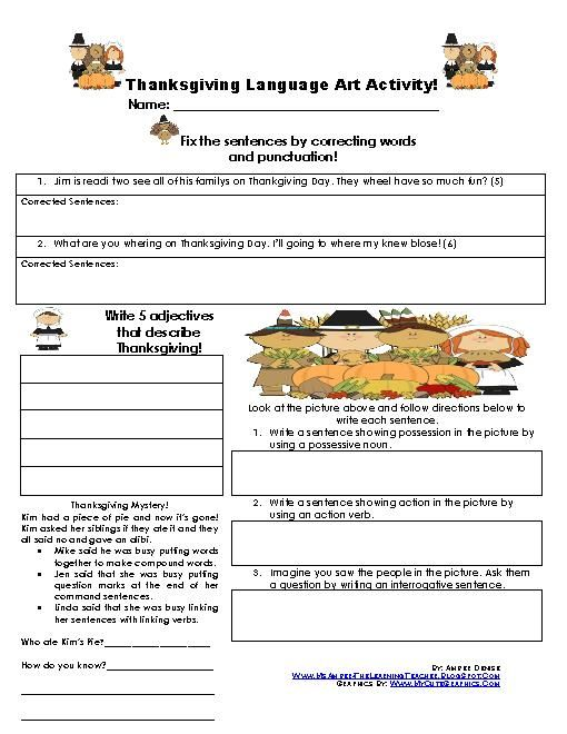 Teacherlingo 000 thanksgving related language arts thanksgving related language arts activity it includes fix it sentences parts of speech sentence writing and thanksgiving mystery fandeluxe Image collections