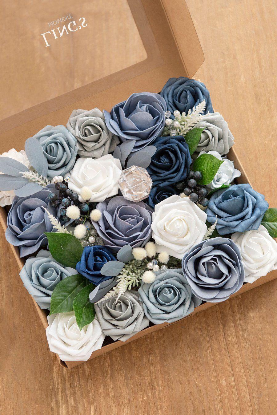 Deluxe dusty blue flowers box set 8 styles in 2020