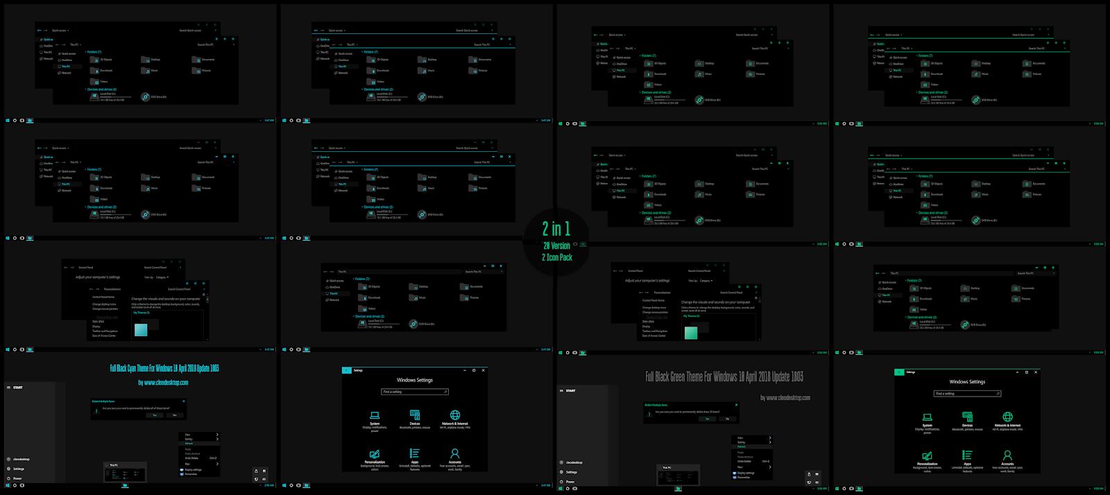 Windows10 Themes I Cleodesktop Full Black Cyan And Green Theme Windows10 April 2018 Update 1803 Green Theme Desktop Themes Windows