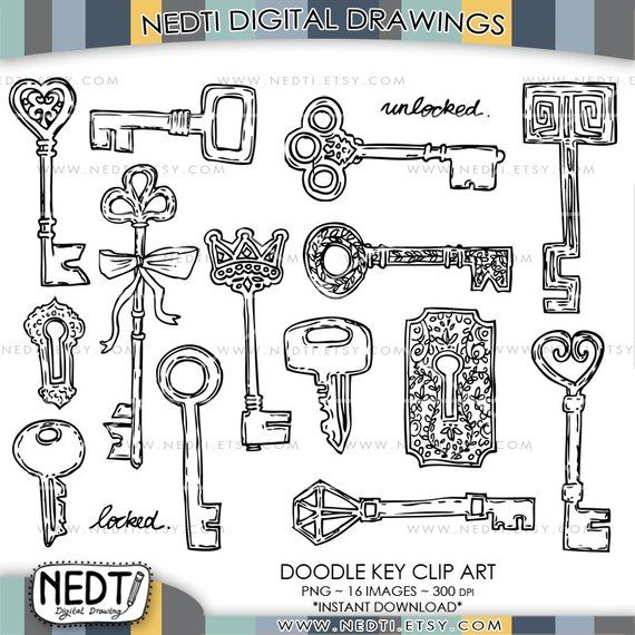 Keys Doodle Clip Art Key Clipart Png Lineart Vintage Classic Old Instant Download Hand Drawn How To Draw Hands Doodles Clip Art