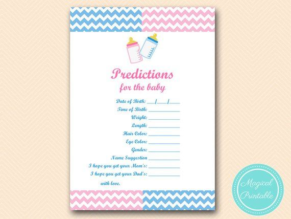 Predictions For The Baby Baby Prediction Card Gender Reveal Etsy Gender Reveal Party Gender Reveal Party Games Reveal Party Games
