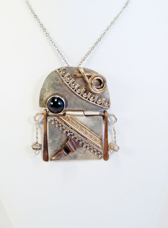 Dynamic Vtg Signed 925 Sterling Silver Marcasite Gem Night Skyline Designer Pin Brooch Jewelry & Watches