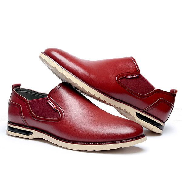 Men Leather Shoes Business Outdoor Slip On Oxfords - Banggood Mobile ... bfb4c82fce7