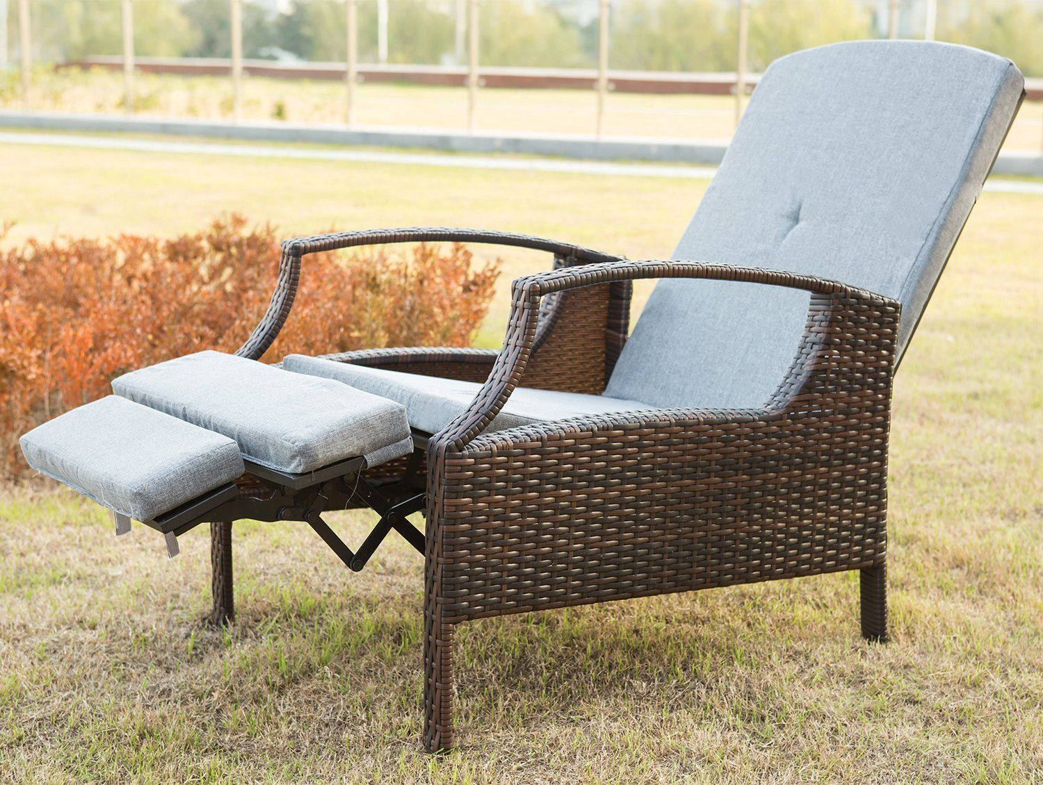 Captivating Merax Outdoor Wicker Patio Adjustable Recliner Chair Lounge With Cushions  (Grey). Smooth Reclining