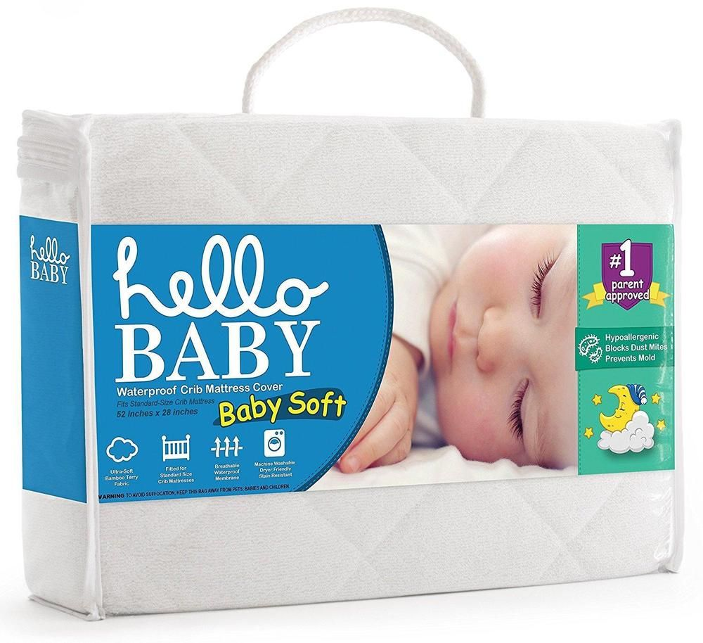 Waterproof Crib Mattress Cover Quilted Ultra Soft White Bamboo Terry