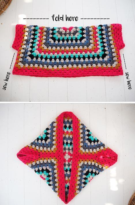 Lululoves Crochet Granny Square Shrug Artesanato Häkeln