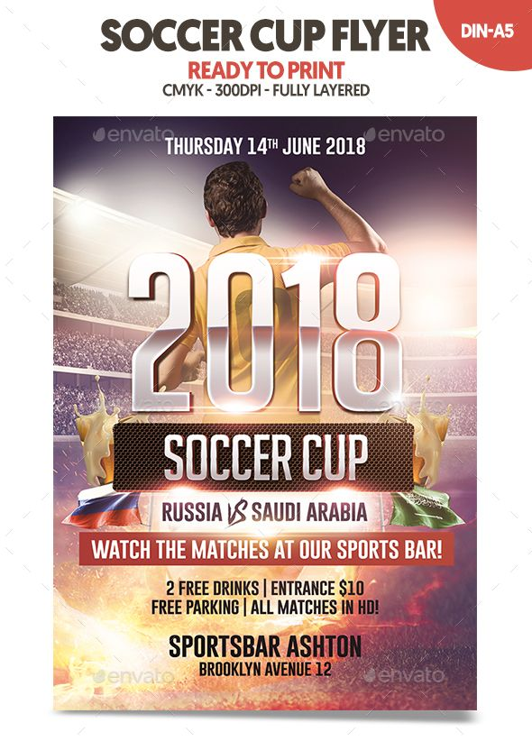 Soccer Cup 2018 Flyer Sports Events Sport Flyers Templates