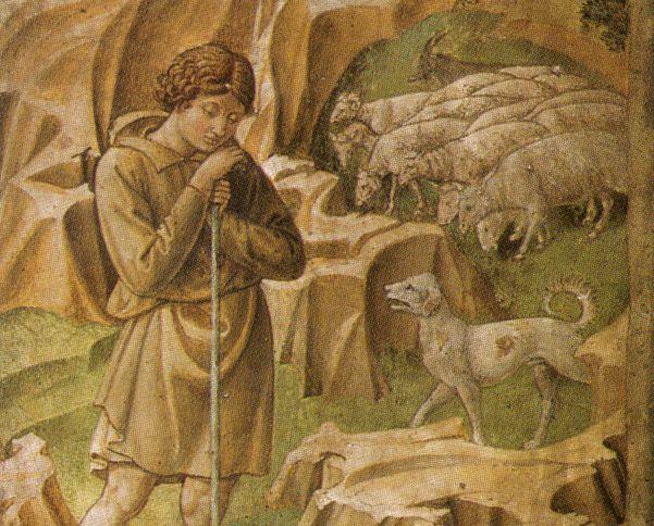 Benozzo Gozzoli - Il viaggio dei Magi - 'La veglia dei pastori' - affresco - 1459-1461 - Cappella dei Magi - Palazzo Medici Riccardi Firenze