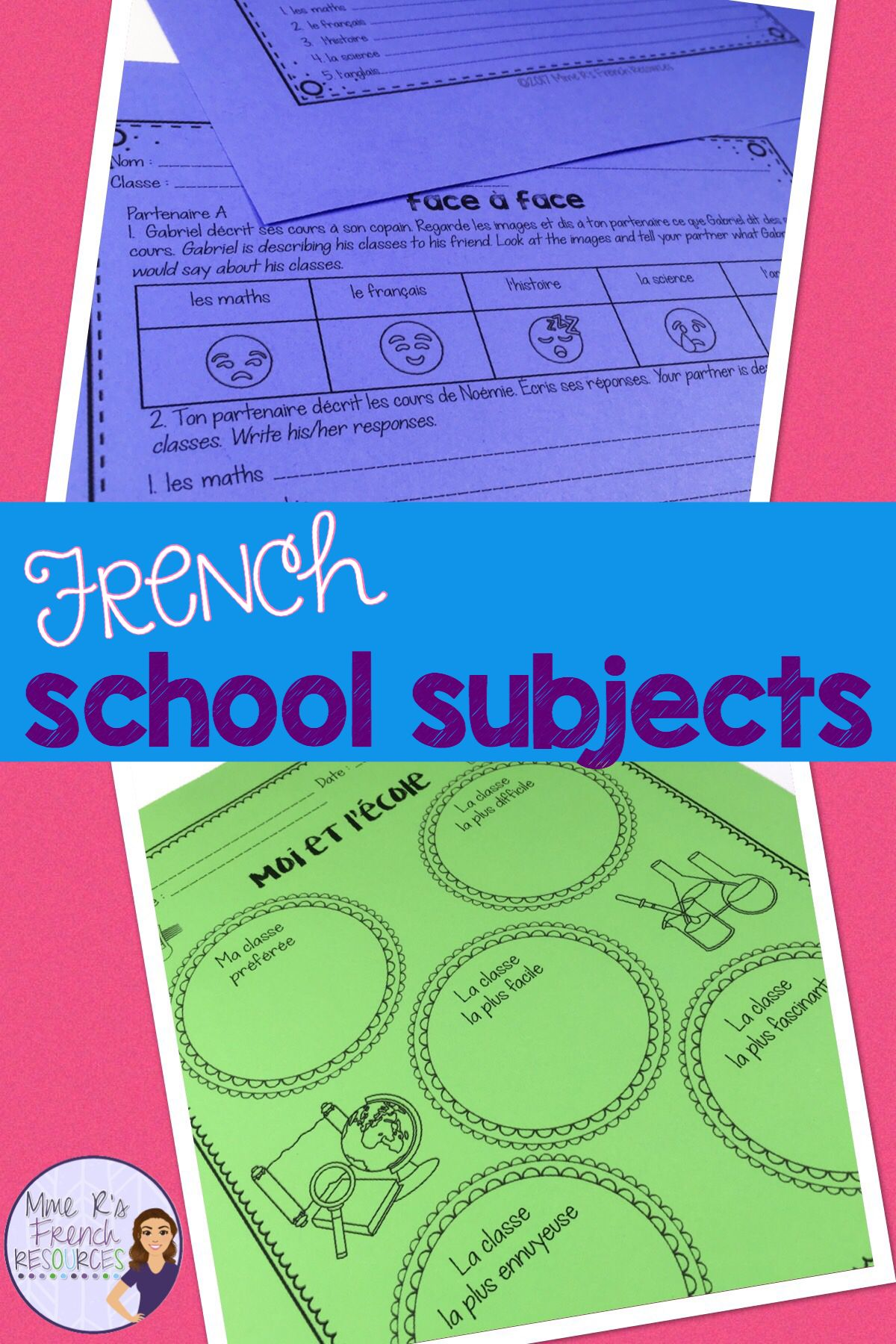 French School Subjects Speaking And Writing Les Matieres