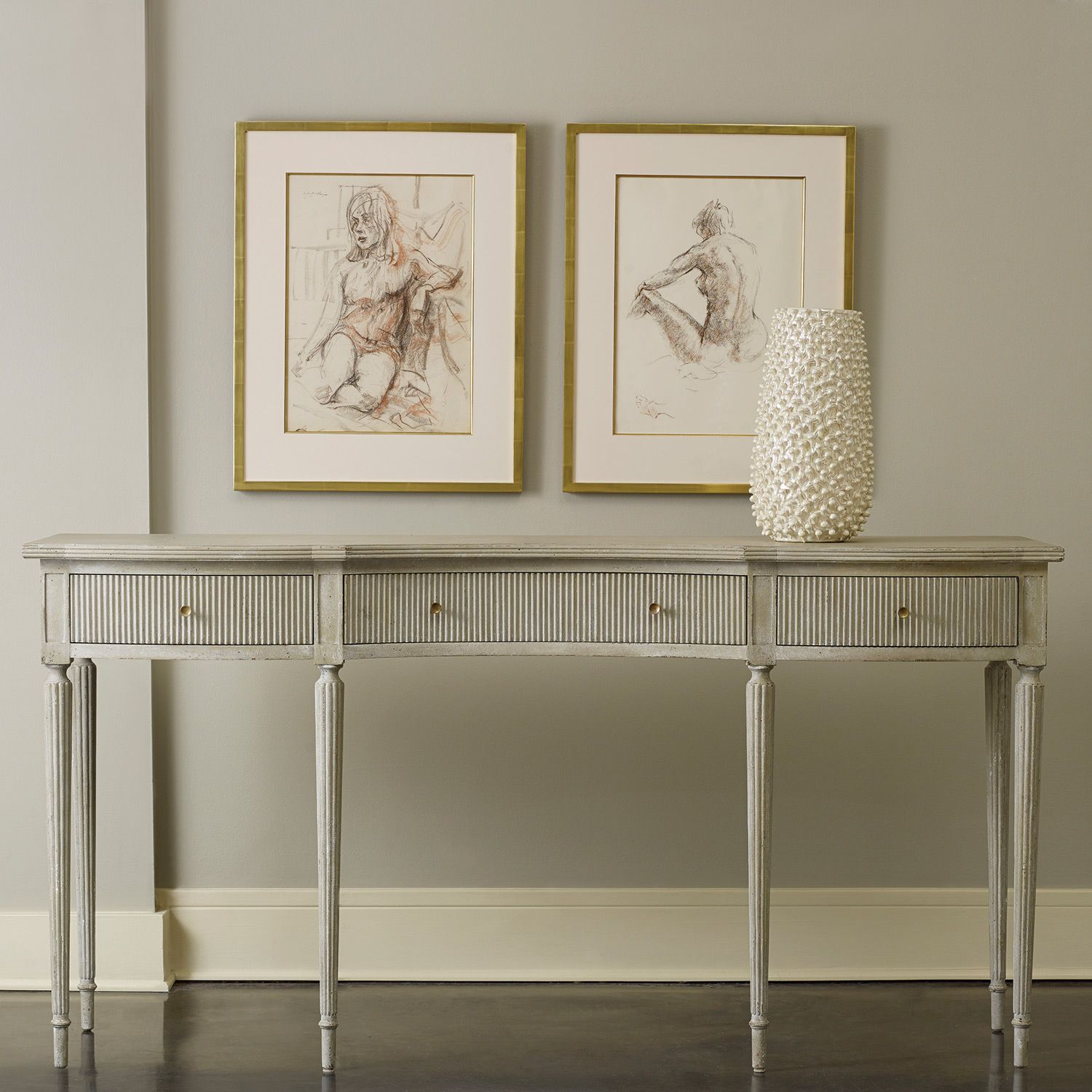 Modern History Home Ribbed Drawer Console Table Modern Sofa Table Home Decor Decor