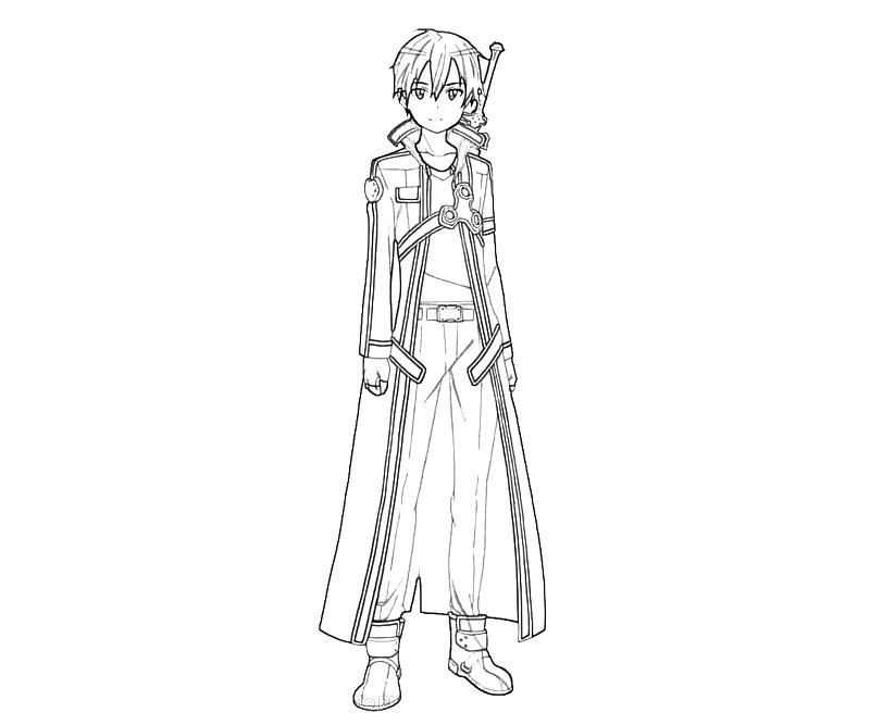 Kirito Coloring Pages LineArt