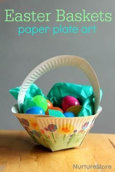Paper plate easter basket craft paper plate crafts easter baskets how to make an easter basket paper plate craft love how each child can add negle Gallery