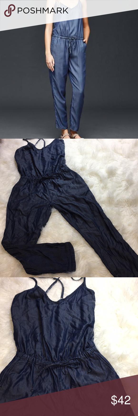 08057927c2d Gap 1969 woman s tencel denim cami jumpsuit Gap 1969 Tencel Denim cami  jumpsuit Size x-