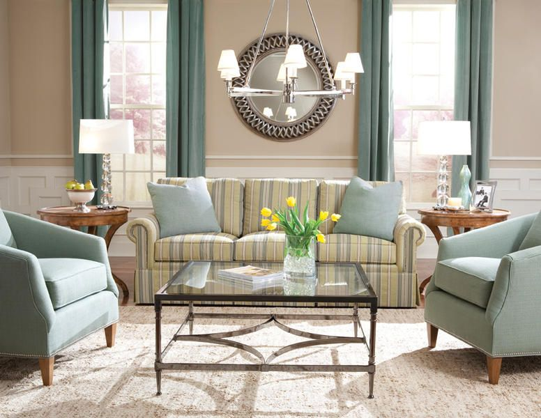 Turquoise Accent Chairs Striped Sofa Huntington