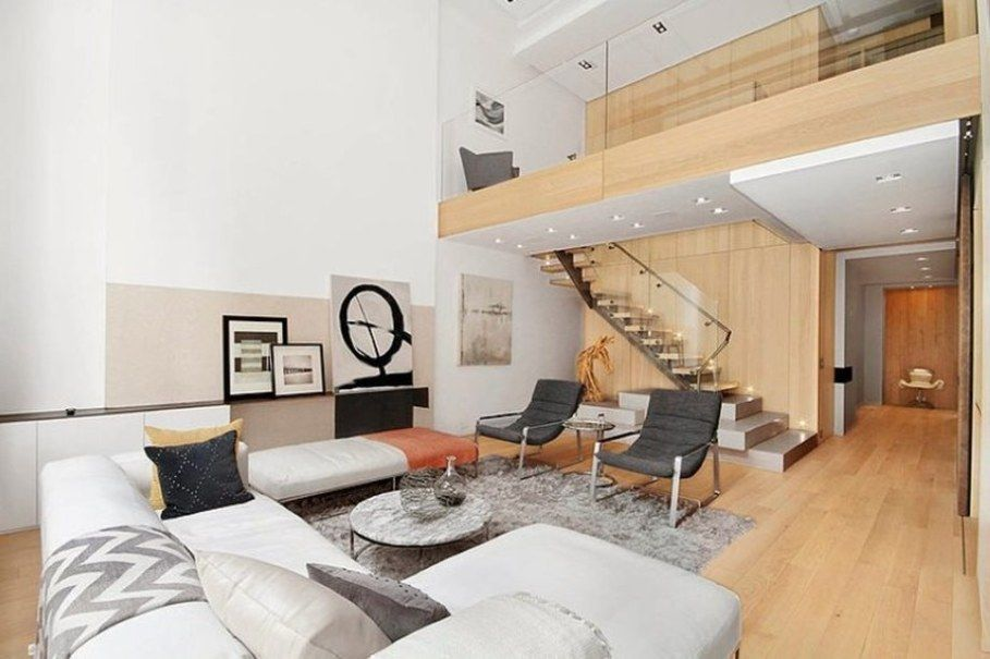 Modern Interior Design Living Room And Staircase Leading To The Second Floor Apartment Design Interior Design Interior Design Bedroom