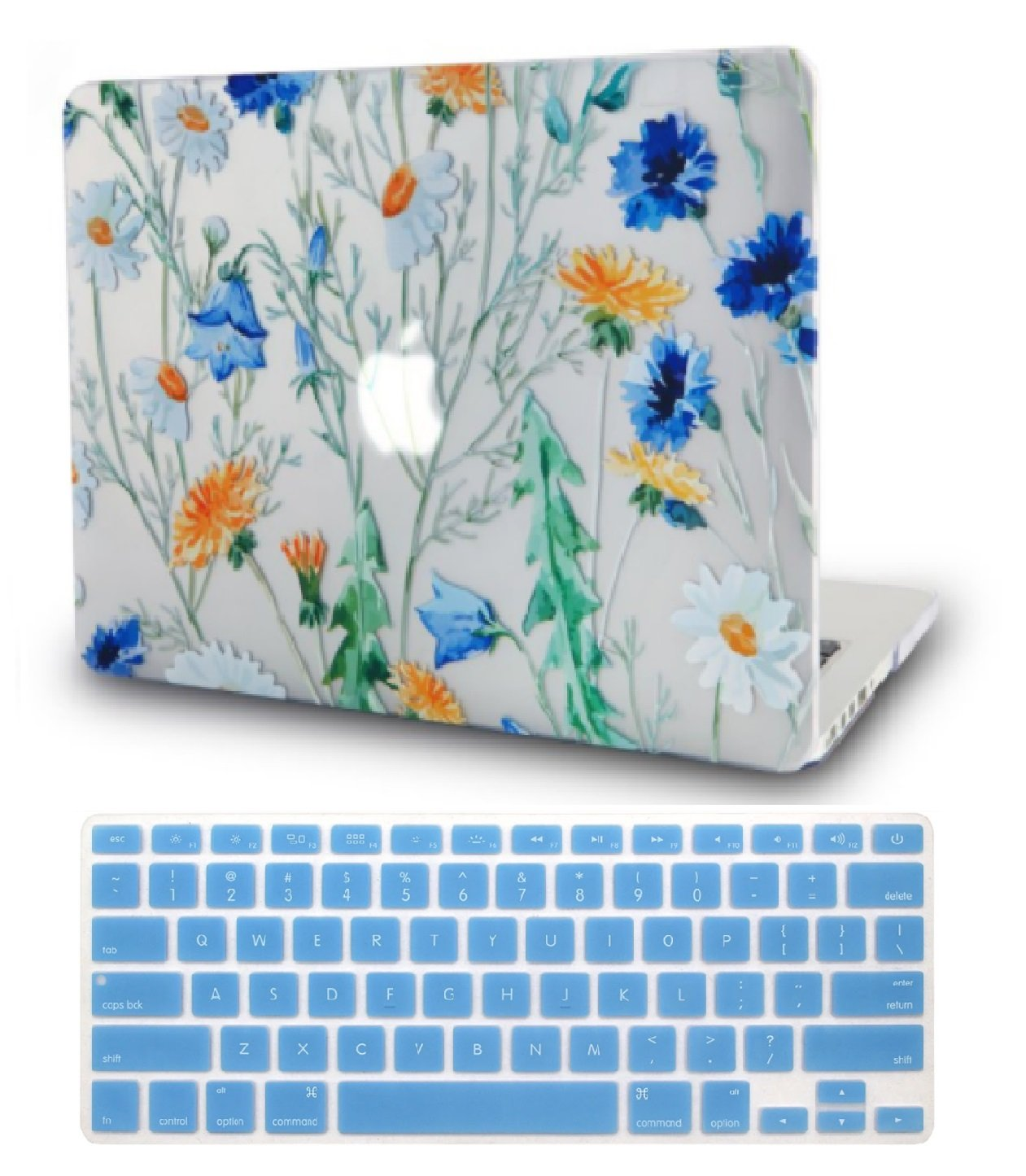 Macbook Case with Keyboard Cover Package | Floral Collection - Floral Pattern