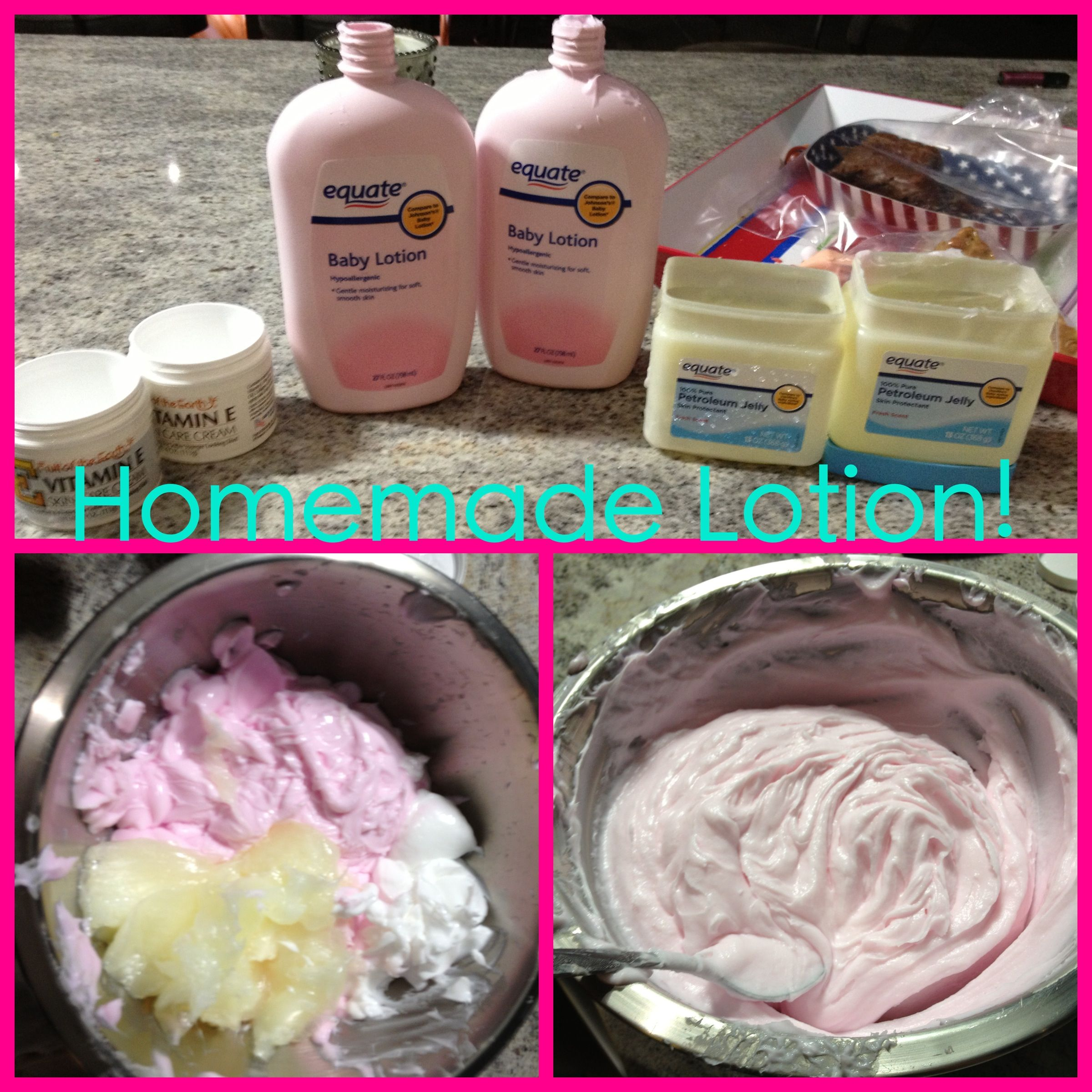 Three easy steps to HOMEMADE LOTION! All you need is 2 Bottles of Baby Lotion